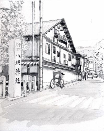 八坂の裏通り グリザイユ (397x500)
