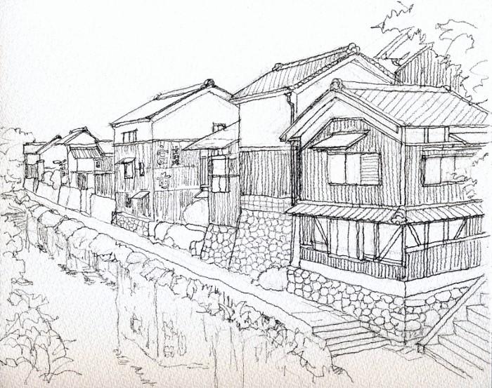 近辺八幡の風景 デッサン (700x553)