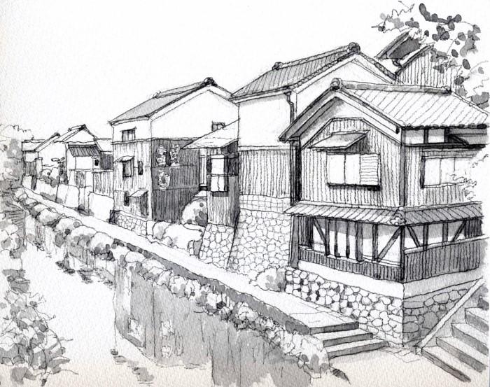 近辺八幡の風景 グリサイユ (700x553)