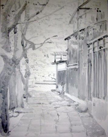 近江八幡の散歩道 モノクロ (355x450)