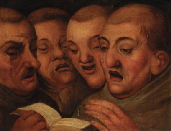 Follower of Martin Van Cleve - Four Monks Singing