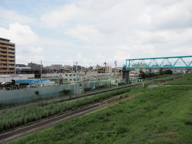 江戸川左岸の堤防から。