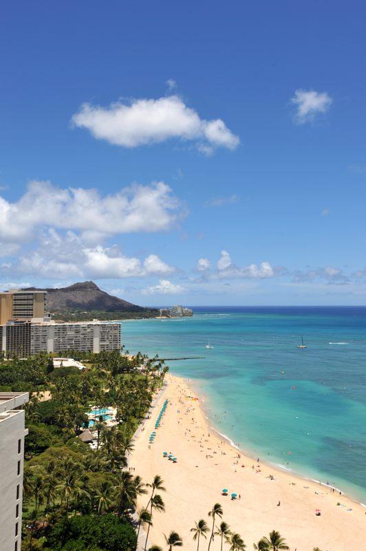 ハワイ ホテルからダイアモンドヘッド方向の眺めを撮ってみた