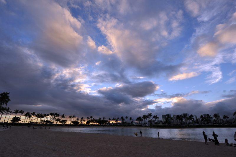 ハワイ ホテル前のビーチで夕景を撮ってみた