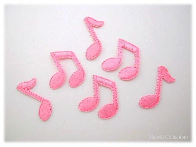 アイロンワッペン-ピンクの音符