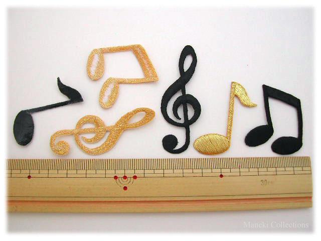 アイロンワッペン-音符-サイズ参考