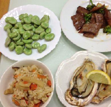 給料日のご飯・焼き牡蛎