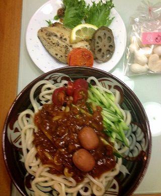 讃岐うどんと野菜と魚