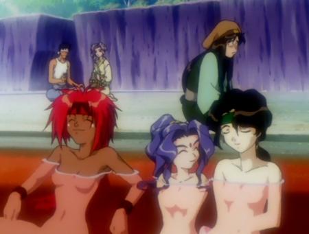 神秘の世界エルハザードOVA版 シェーラ・シェーラとアレーレ・レレライルとアフラ・マーンの全裸温泉入浴シーン16