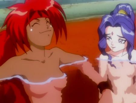 神秘の世界エルハザードOVA版 シェーラ・シェーラとアレーレ・レレライルの胸裸温泉入浴シーン17