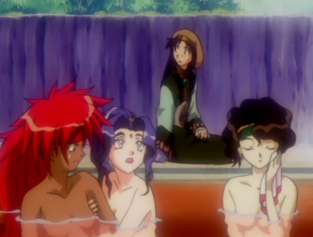 神秘の世界エルハザードOVA版 シェーラ・シェーラとアレーレ・レレライルとアフラ・マーンの胸裸温泉入浴シーン19
