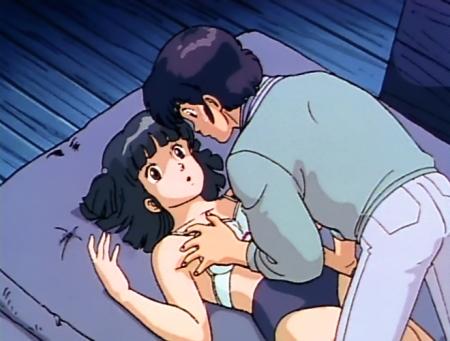 めぞん一刻TV版 八神いぶきが下着姿で胸を触られるシーン ブラブルマ75
