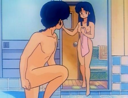 らんま1/2TV版 天道あかねの全裸入浴シーン乳首3