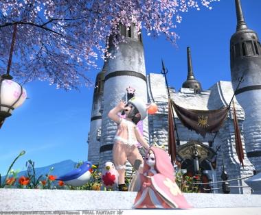 桜の下でポーズ