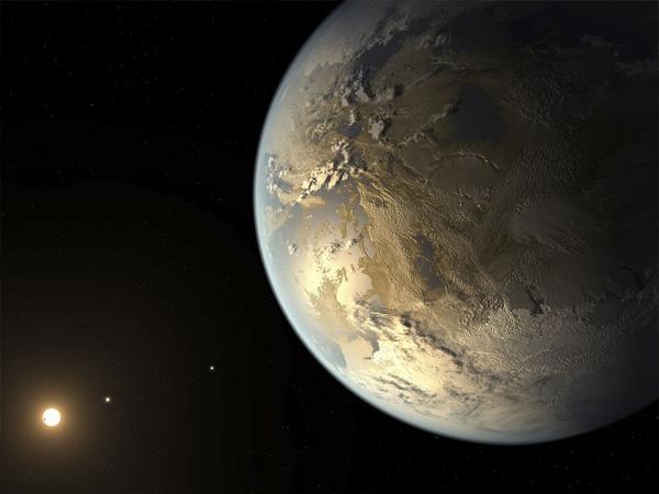 赤色矮星のハビタブルゾーンを公転する、地球サイズの惑星ケプラー186f(想像図)。