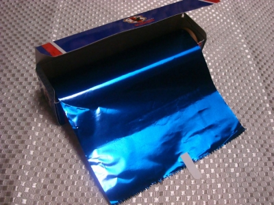 青いアルミホイル