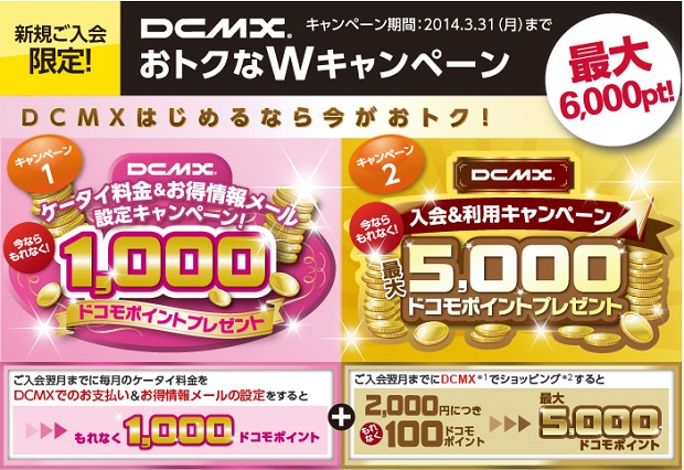 【DCMX】最大6,000pt獲得のキャンペーン