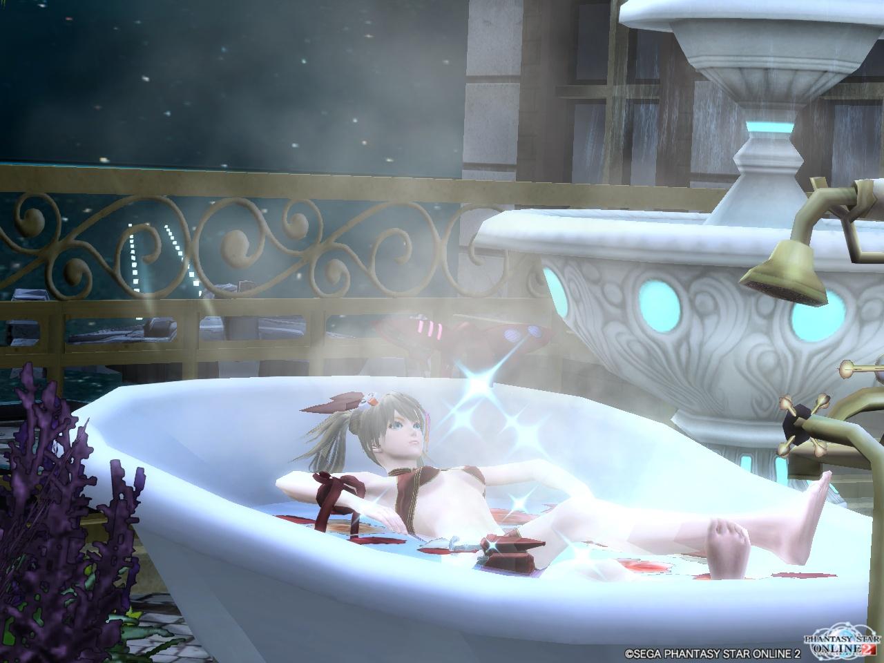 セルベリア・スイムウェア紅でお風呂