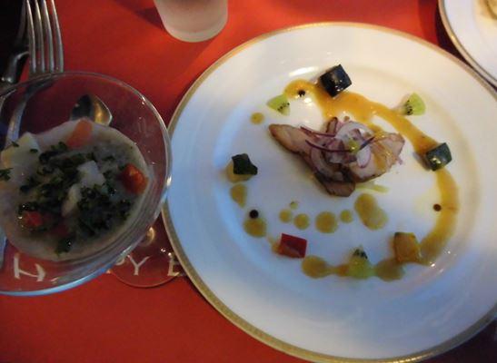 カリフラワーのヴルーテ イセエビ風味のソース合鴨と野菜のサラダ仕立てオリーブとナッツ風味