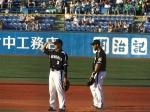 20140805阪神-ヤクルト戦 守備練習 関本とゴメス