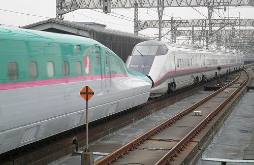 E3系「こまち」+E5系「はやぶさ」併結運転(2012年3月22日・大宮駅)