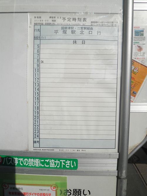 箱根登山バス・神奈中バス「漁場前」停留所2(神奈川県小田原市小八幡)(2011年12月31日)