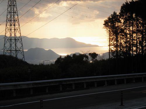 国道1号線・箱根峠から見た沼津方面の眺望(2012年1月8日)