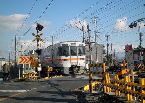旧東海道・東海道本線「原踏切」(片浜~原間)(2012年1月29日)