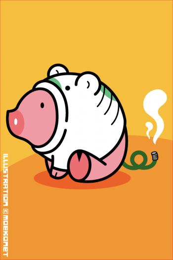 豚蚊取り線香イラスト