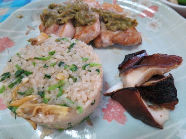 炊き込み御飯・大葉椎茸のつけ焼き