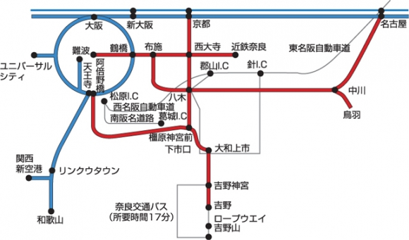 大阪から吉野へのアクセス路線図