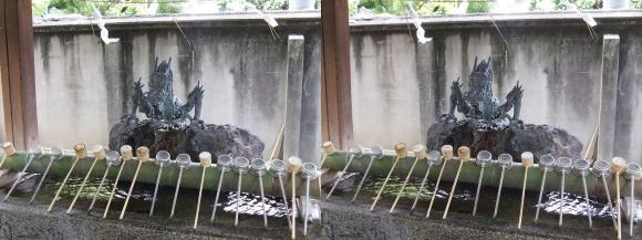 住吉大社竜の銅像の手水舎(交差法)