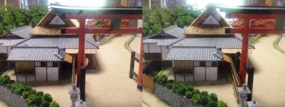 京都市嵯峨鳥居本町並み保存館 一の鳥居と茶店ジオラマ模型① (交差法)