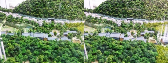 京都市嵯峨鳥居本町並み保存館 1930年当時の嵯峨鳥居本地区ジオラマ模型④ (平行法)