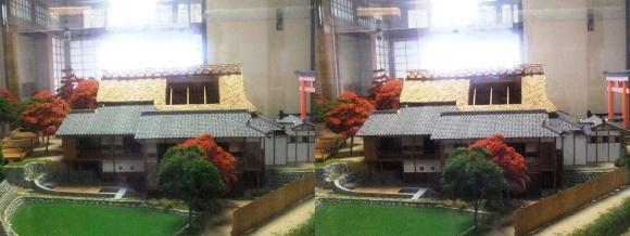 京都市嵯峨鳥居本町並み保存館 一の鳥居と茶店ジオラマ模型③ (平行法)