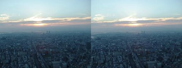あべのハルカス眺望夕陽①(平行法)