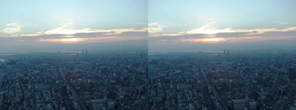 あべのハルカス眺望夕陽①(交差法)
