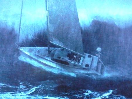 嵐の海のヨット