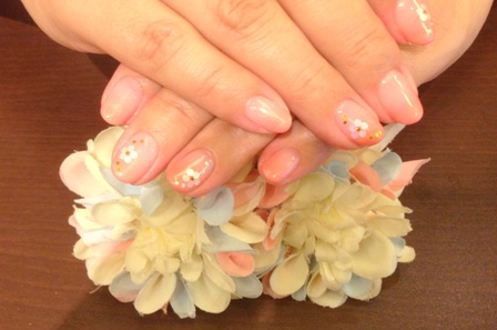 ジェルネイル画像 春ネイル カラーグラデーション お花ネイル ホログラム