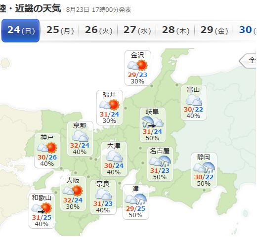前日の天気予報