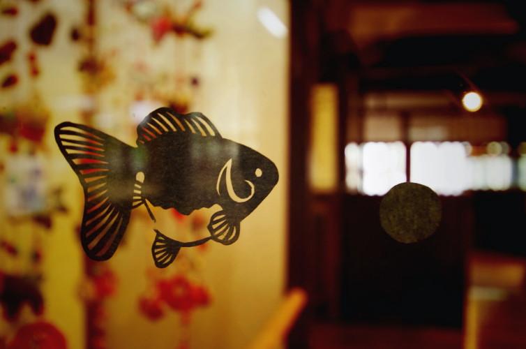 切り絵の金魚