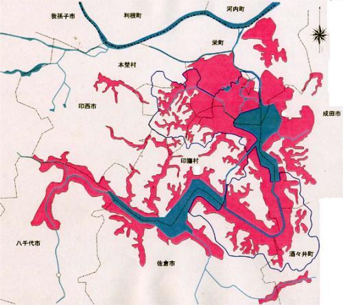 印旛沼地図