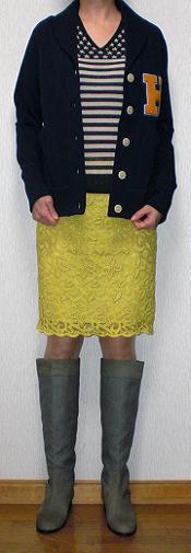黄色レーススカート
