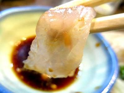 ヒラメ刺身を食す