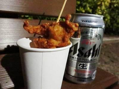唐揚と缶ビール