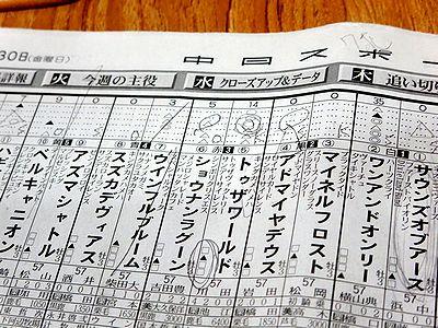 書き込みをした日本ダービーの新聞