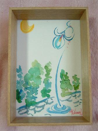ほっと癒される光の絵画 感謝と祈りの詩と薔薇とアートコレクション-街灯 水彩画
