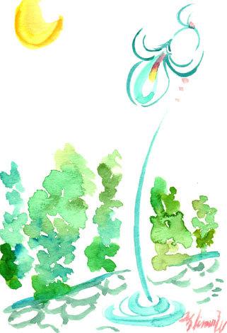 ほっと癒される光の絵画 感謝と祈りの詩と薔薇とアートコレクション-水彩画 街灯