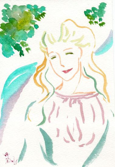 ほっと癒される光の絵画 感謝と祈りの詩と薔薇とアートコレクション-笑顔・初夏ver. 水彩画