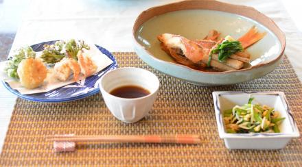 煮魚と天麩羅で